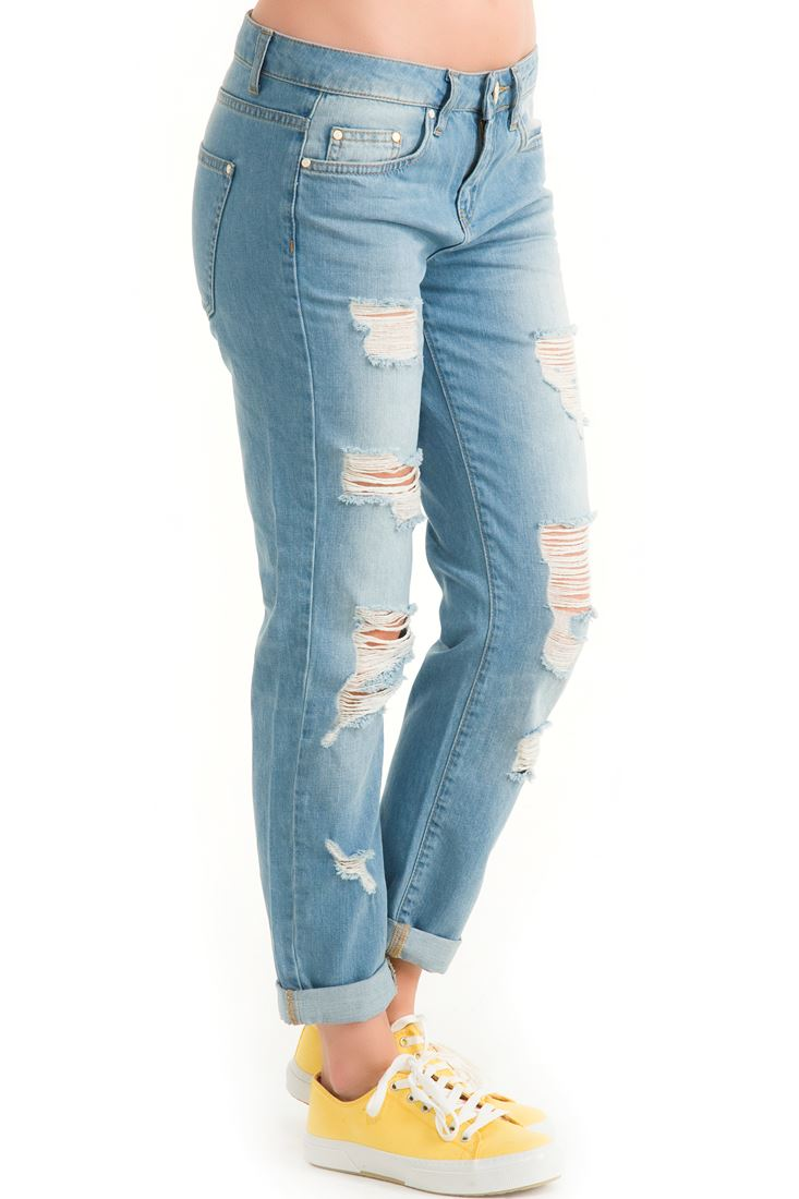 Blue Distressed Jean Trouser