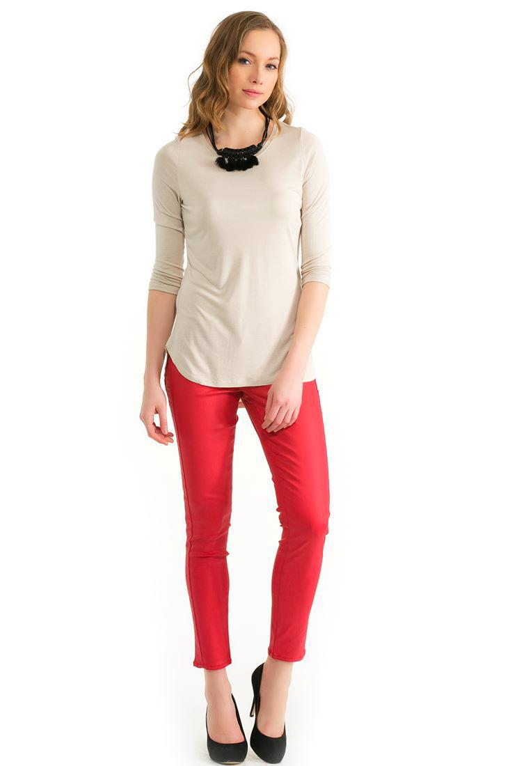 Bayan Kırmızı Dar Paça Pantolon