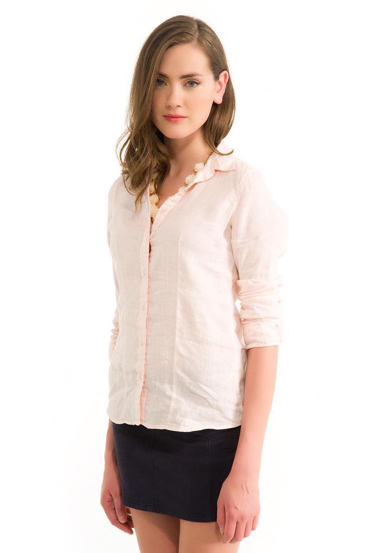 Bayan Pembe Keten Klasik Gömlek