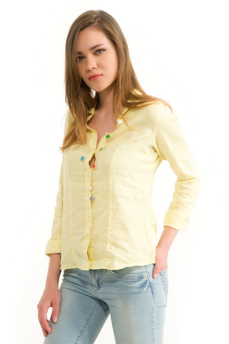 Sarı Keten Klasik Gömlek
