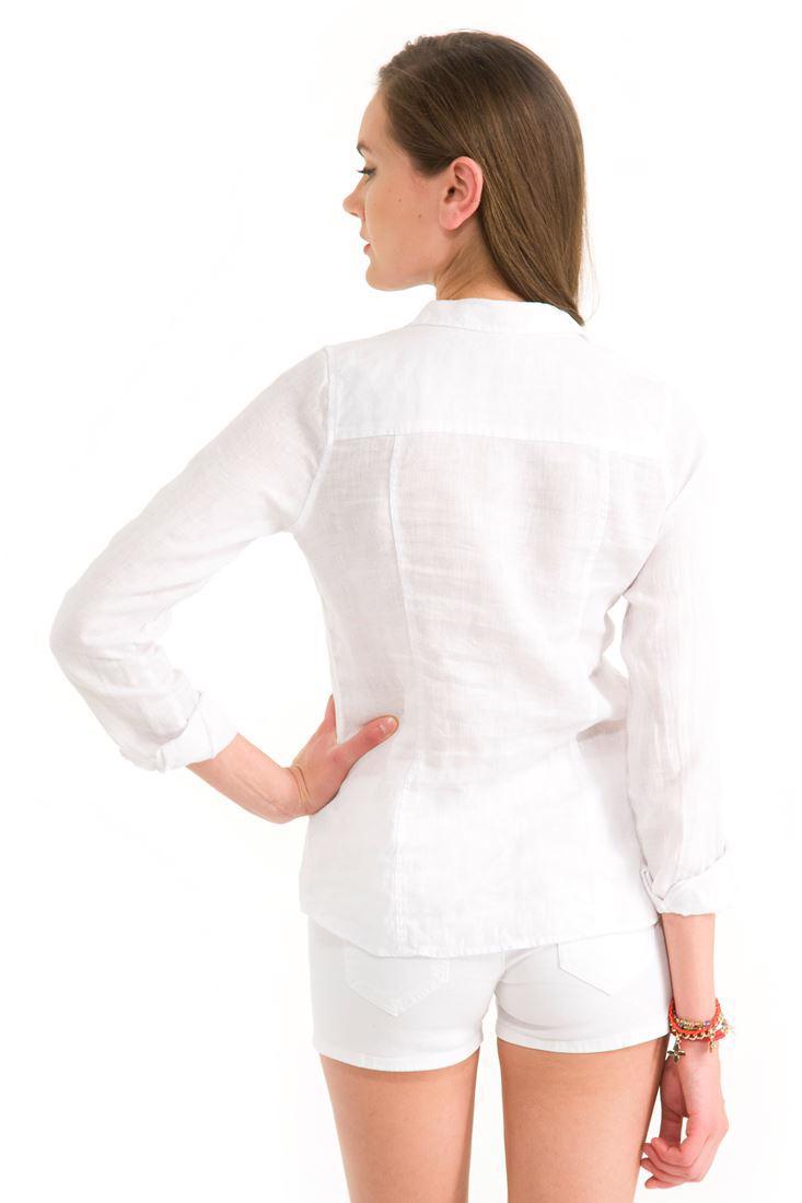 Bayan Beyaz Keten Klasik Gömlek