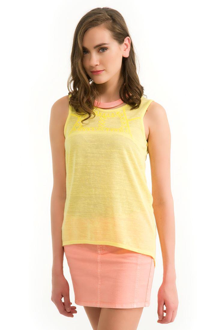 Sarı Nakış Detaylı Bluz