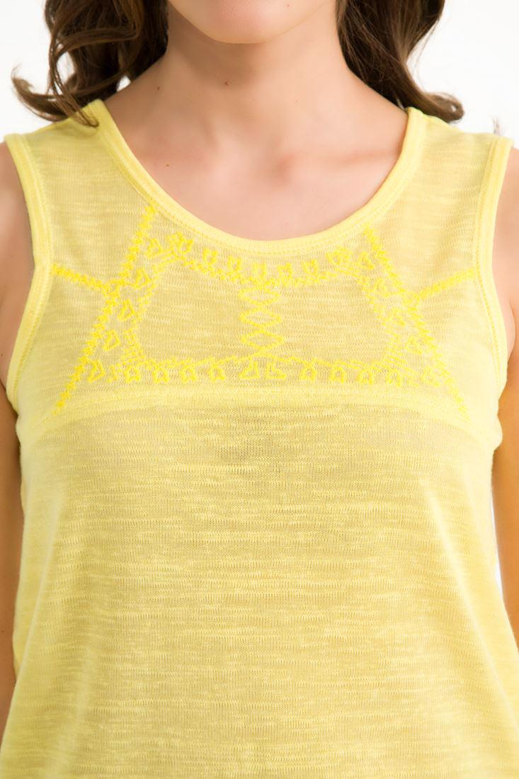 Bayan Sarı Nakış Detaylı Bluz