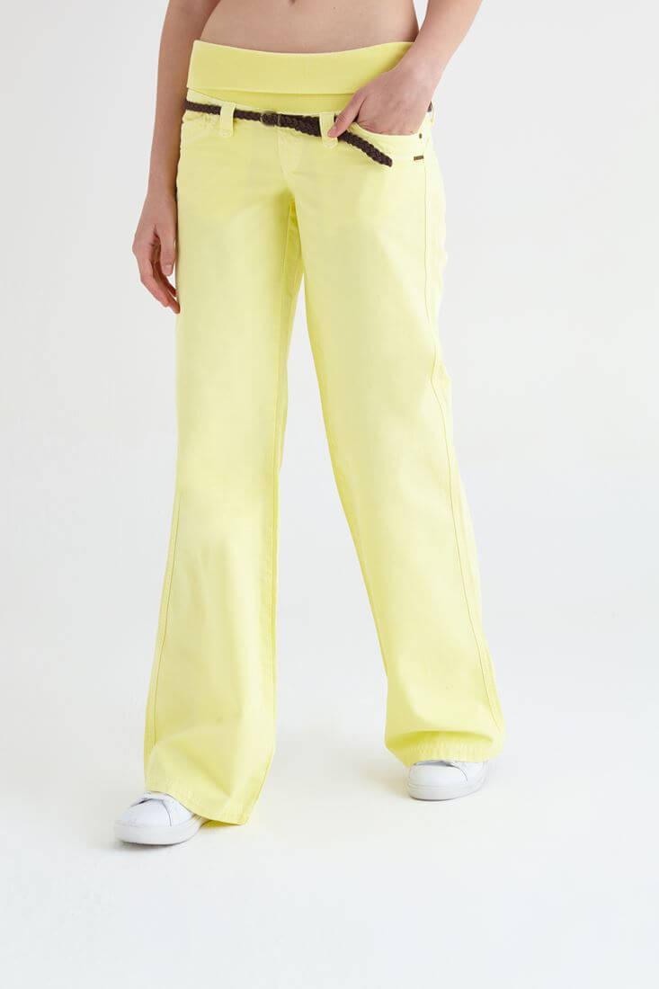 Bayan Sarı Bol Kesim Pantolon