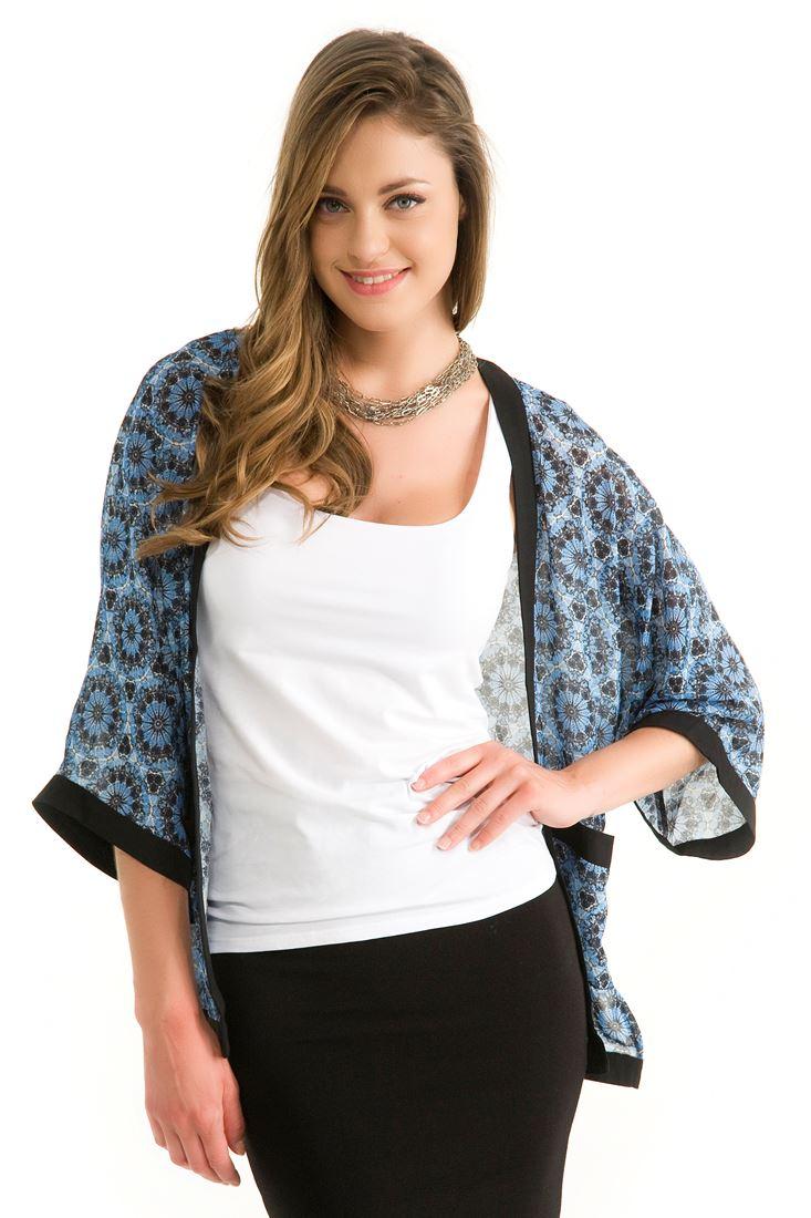 Mavi Kısa Kollu Kimono Ceket