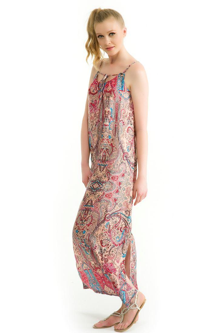 Pembe Sırt Dekolteli Uzun Elbise