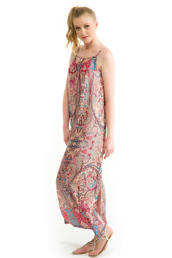 Bayan Pembe Sırt Dekolteli Uzun Elbise