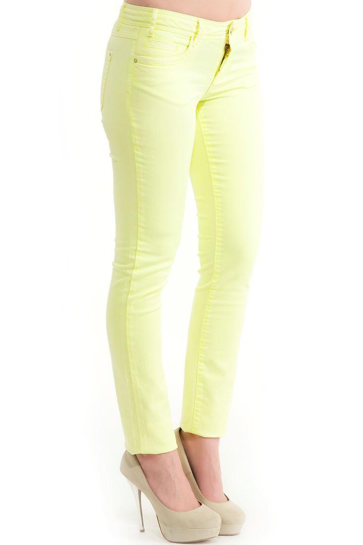 Sarı Neon Dar Kesim Pantolon