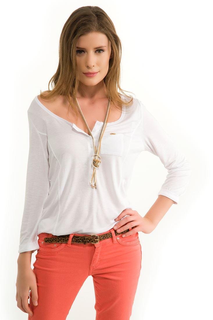 Beyaz Uzun Kollu Tişört