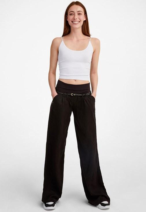 Kırmızı Beli Lastikli ve Kemerli Bol Pantolon