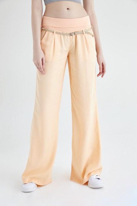 Turuncu Beli Lastikli ve Kemerli Bol Pantolon