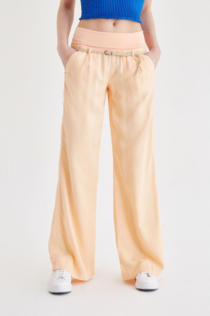 Bayan Turuncu Beli Lastikli ve Kemerli Bol Pantolon