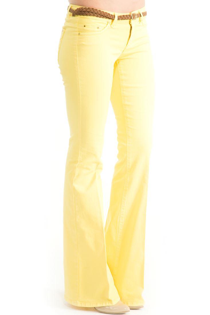 Sarı Orta Bel İspanyol Paça Pantolon