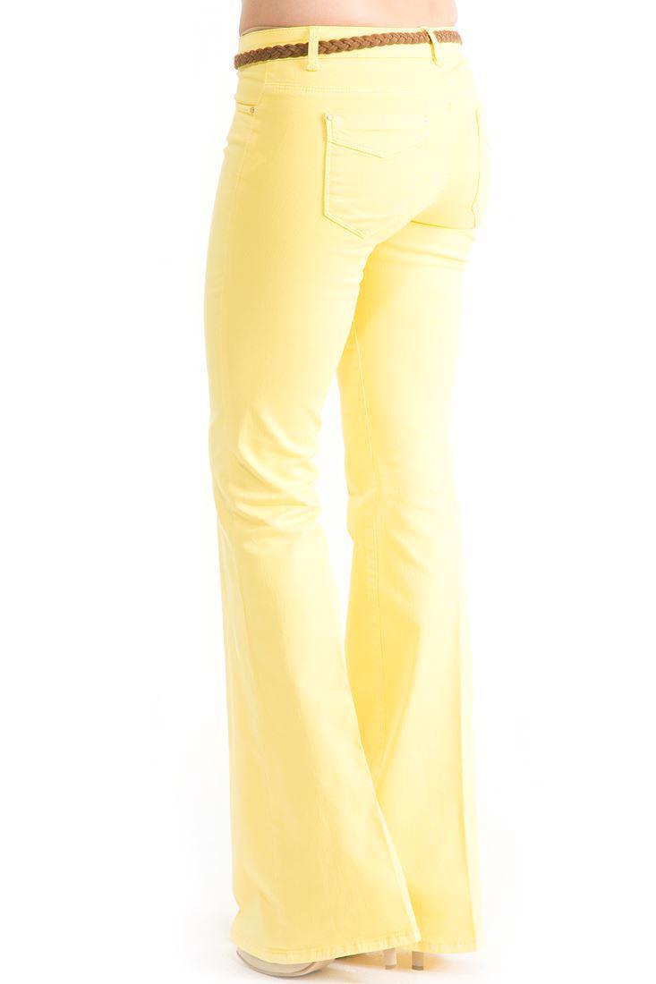 Bayan Sarı Orta Bel İspanyol Paça Pantolon