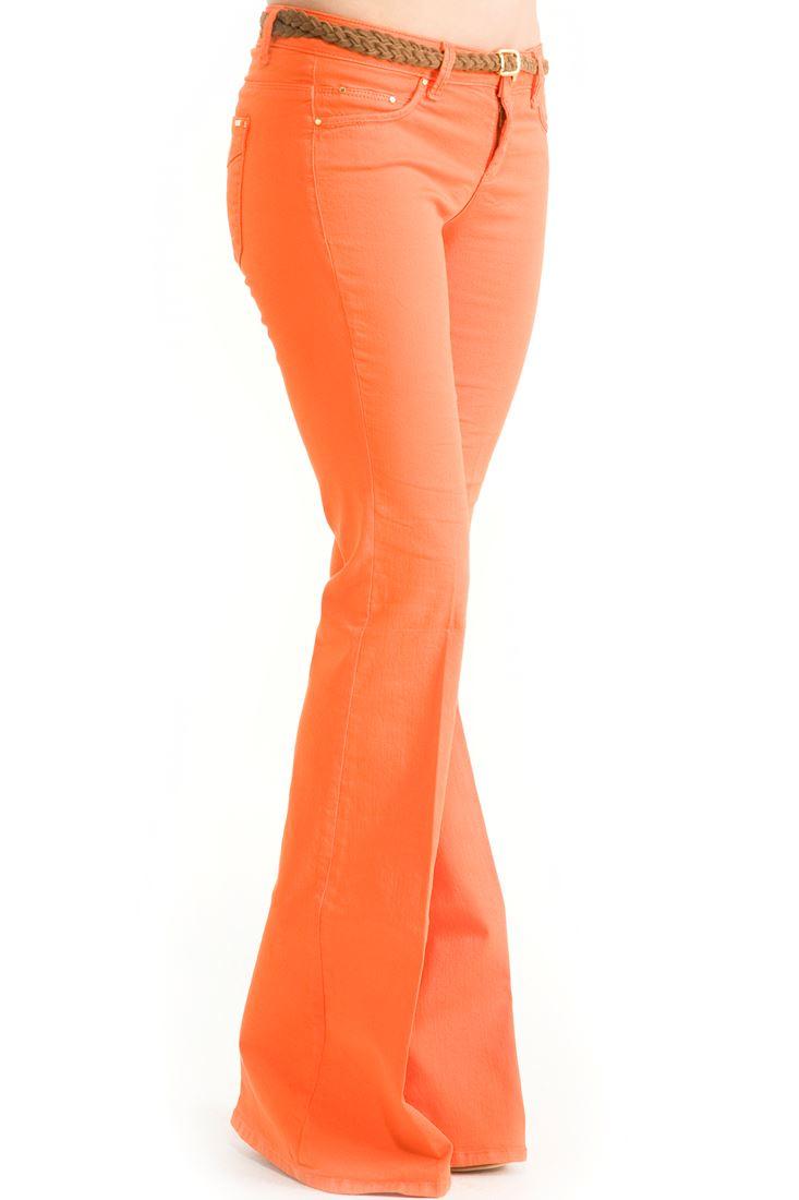 Turuncu Orta Bel İspanyol Paça Pantolon