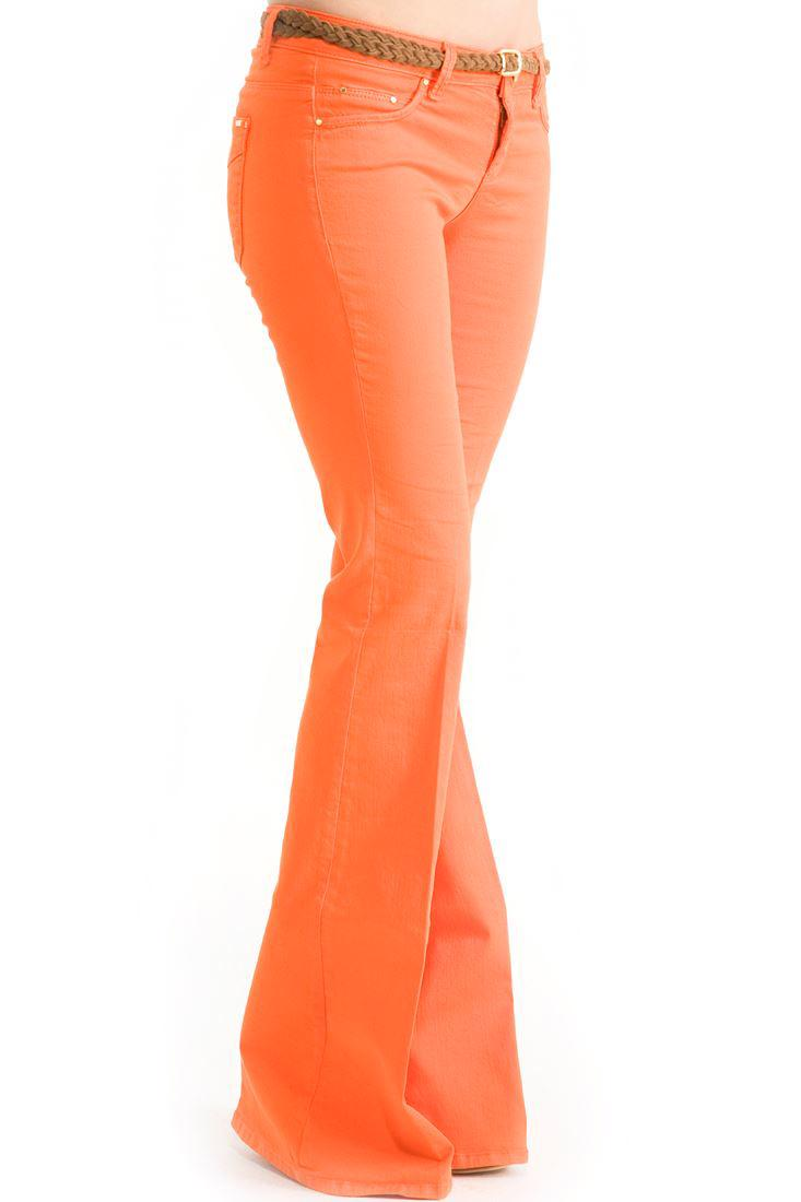 Bayan Turuncu Orta Bel İspanyol Paça Pantolon