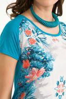 Bayan Mavi Çiçek Baskılı Tişört