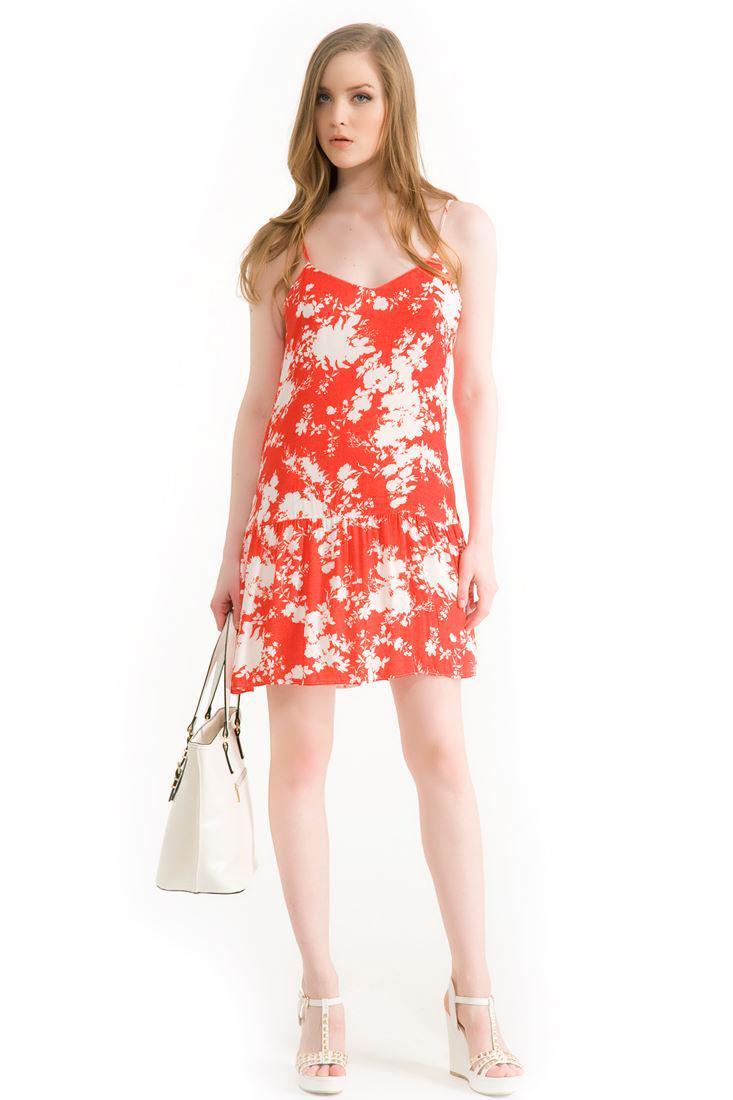 Bayan Çok Renkli Çiçek Baskılı Elbise