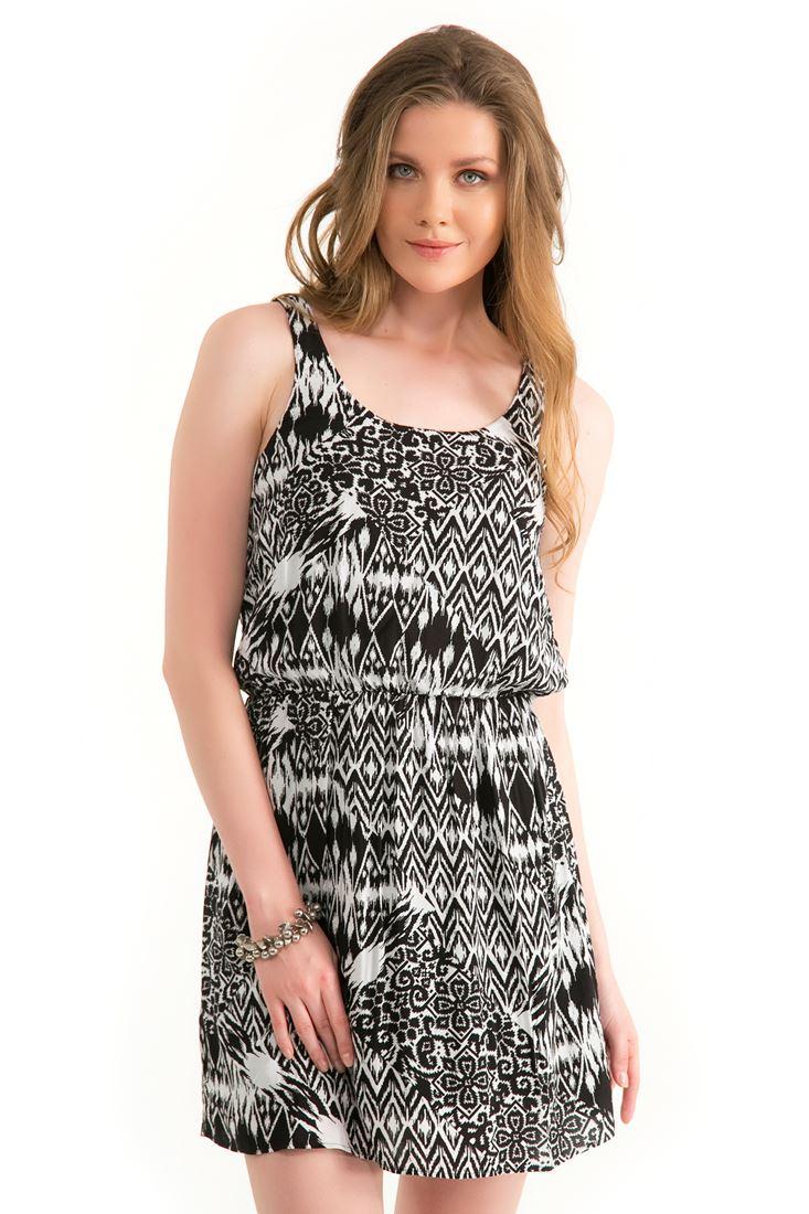 Siyah Desenli Elbise