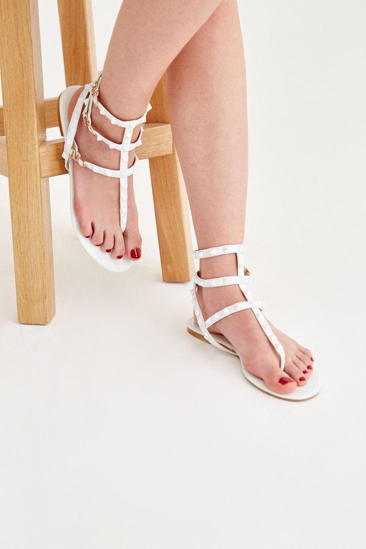 Beyaz Bantlı Sandalet