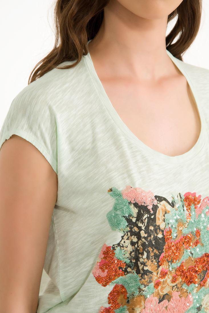 Bayan Yeşil Pullu Melanjlı U Yaka Tişört