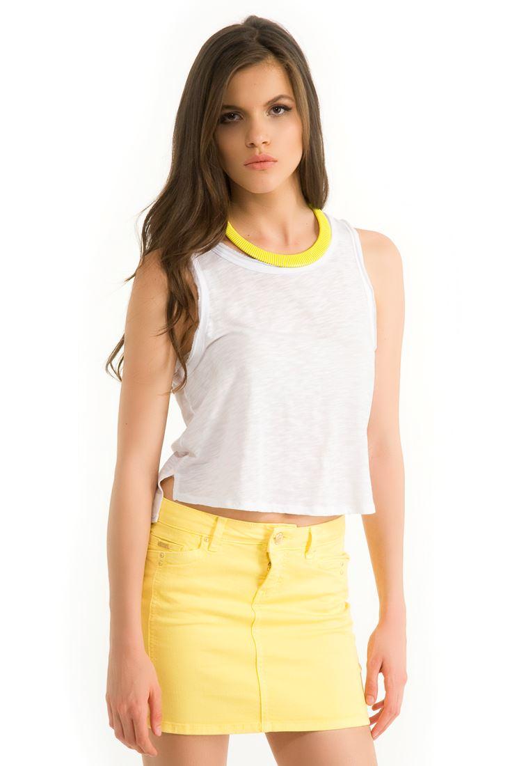Beyaz Tül Detaylı Kısa Bluz
