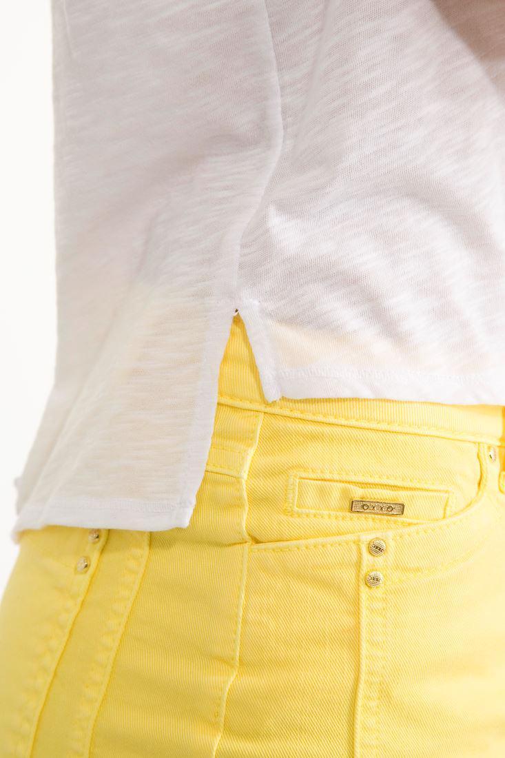 Bayan Beyaz Tül Detaylı Kısa Bluz