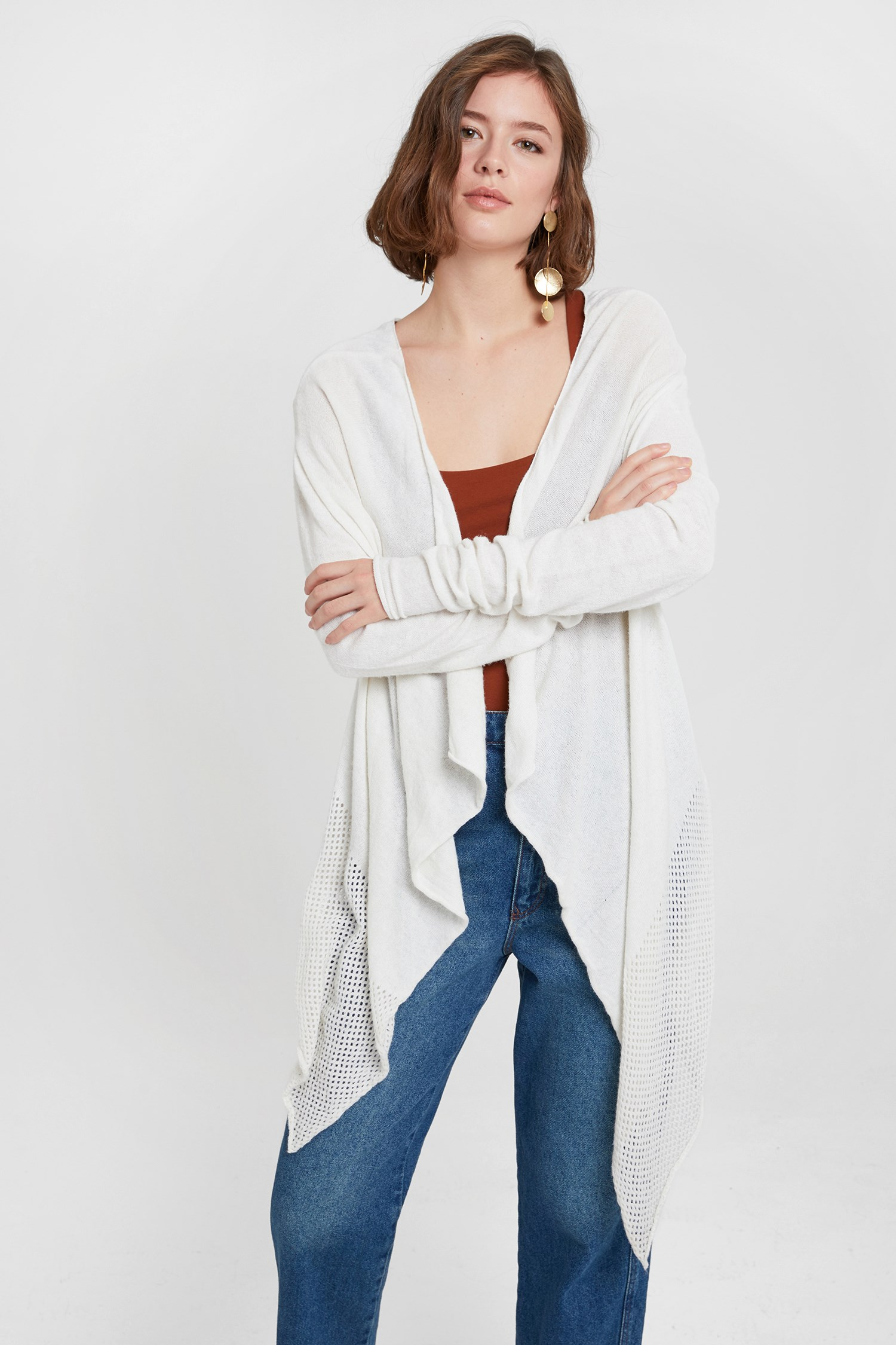 Women Cream Cardigan with Detail