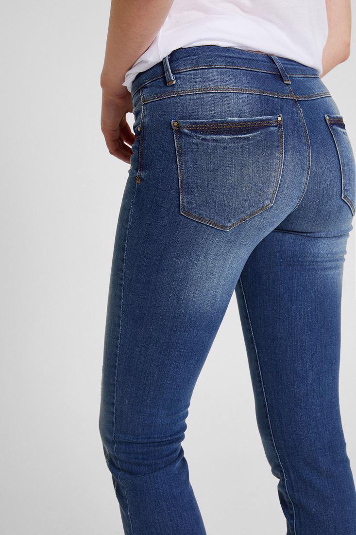 Bayan Mavi Dar Kesim Denim Pantolon
