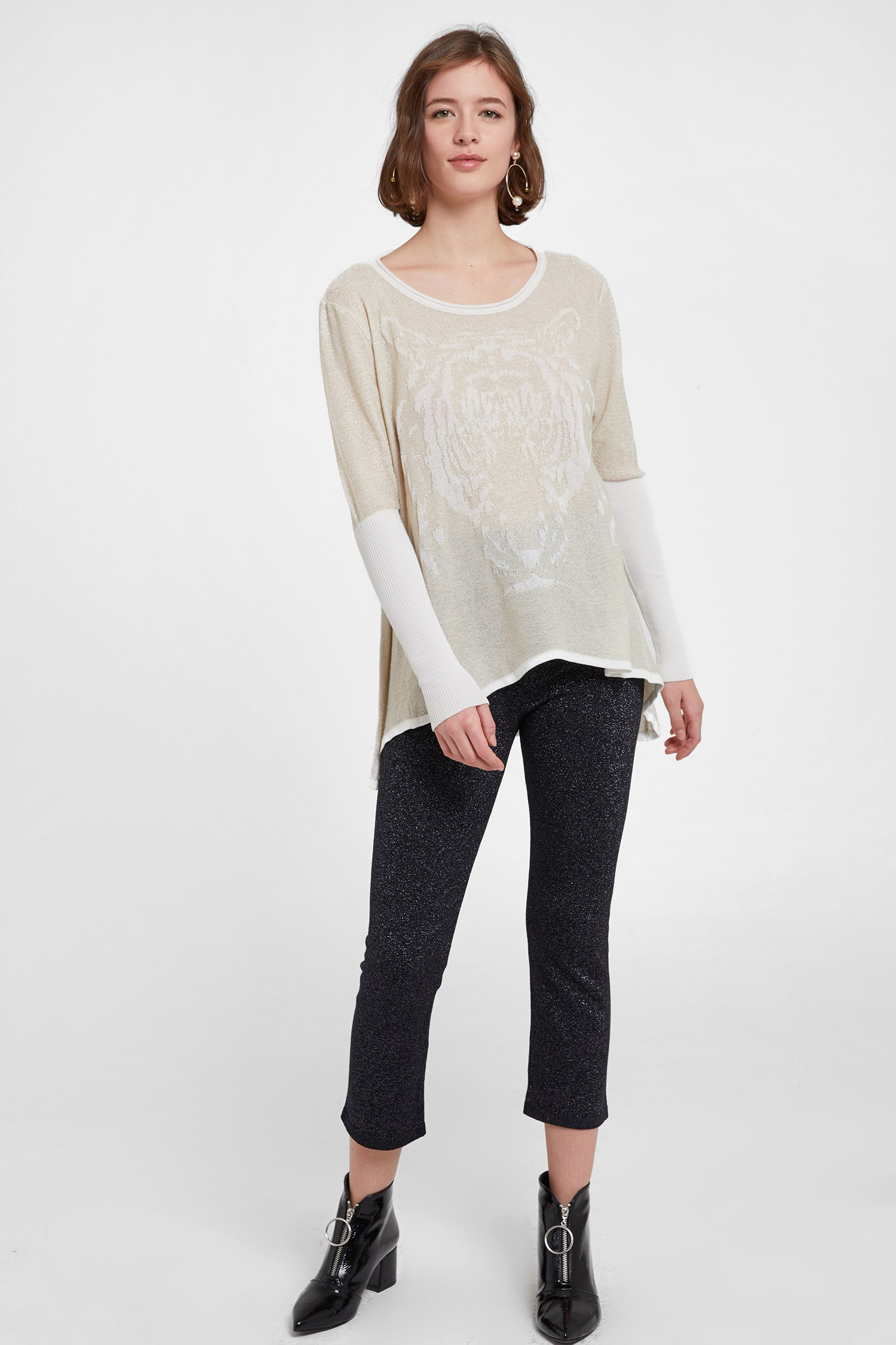 Women Cream Long Sleeve U Neck Knitwear