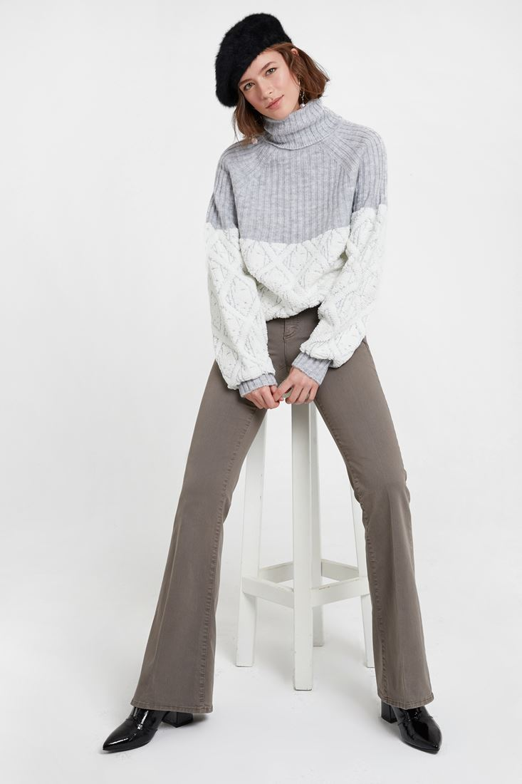Grey Low Rise Flare Trouser