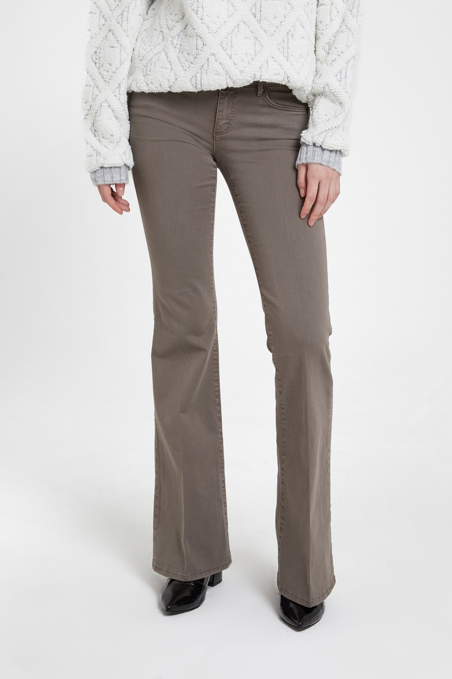Women Grey Low Rise Flare Trouser