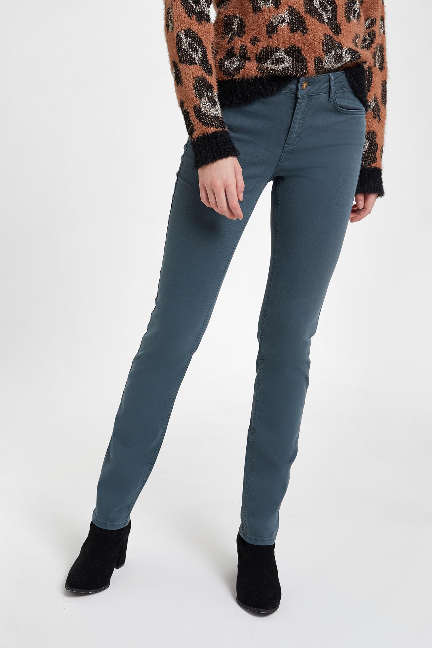 Bayan Gri Boru Paça Esnek Pantolon