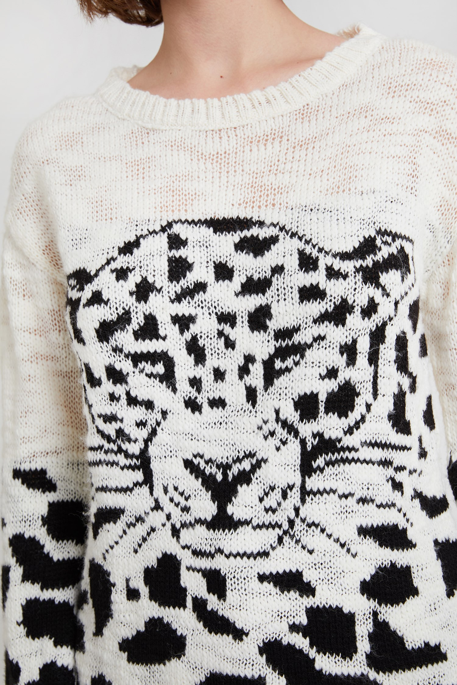 Women Cream Patterned Pullover