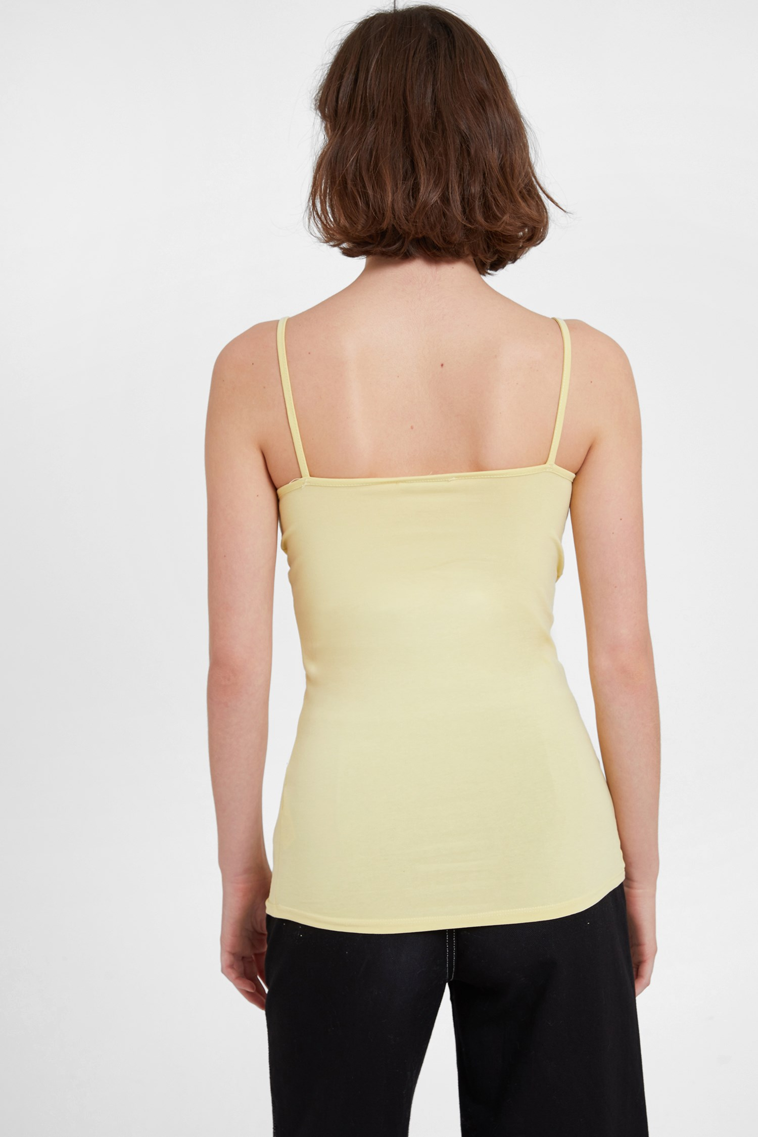 Women Green U Neck Tank with Details
