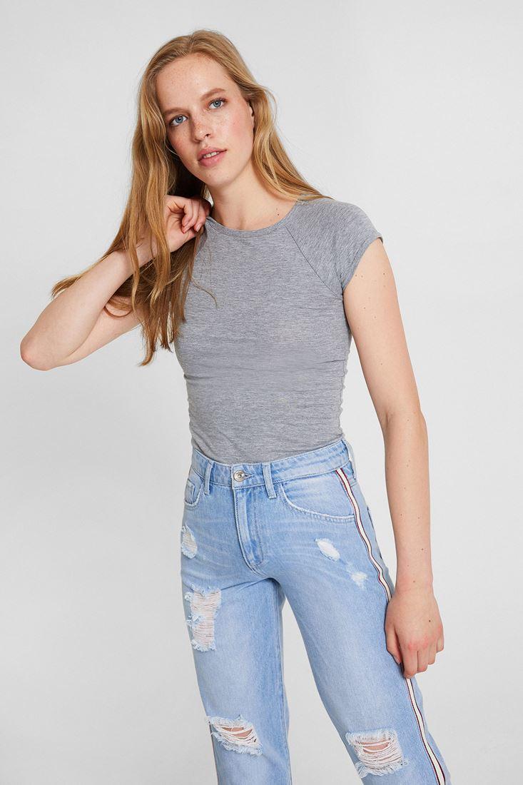 Gri Sıfır Yaka Streç Tişört