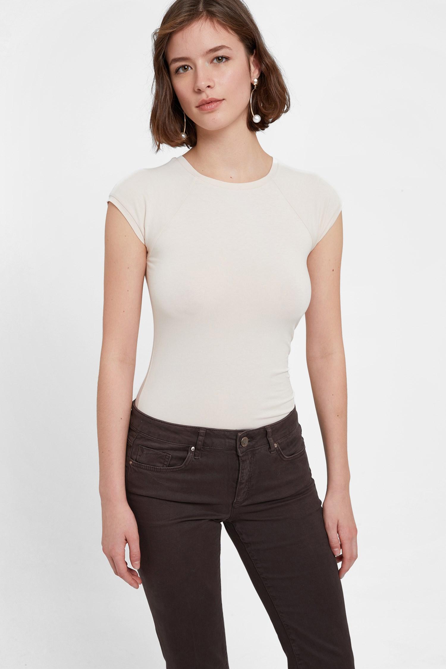 Bayan Krem Sıfır Yaka Streç Tişört