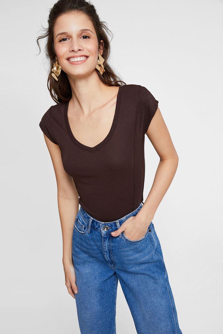Brown V Neck Basic T-Shirt