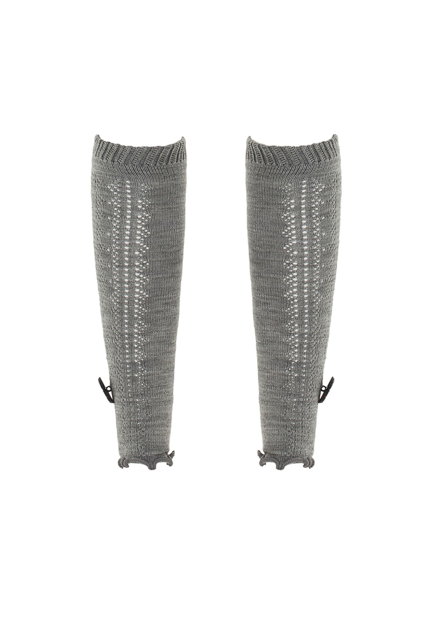 Bayan Gri Düğme Detaylı Akrilik Çorap