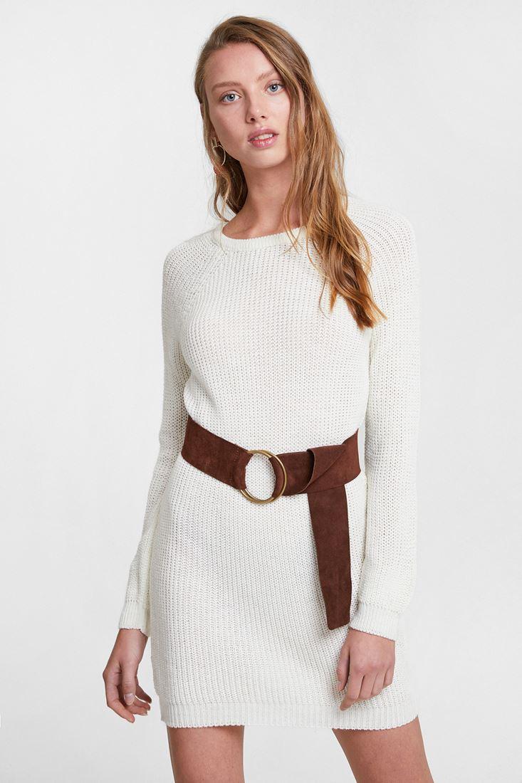 Krem Uzun Kollu Triko Elbise