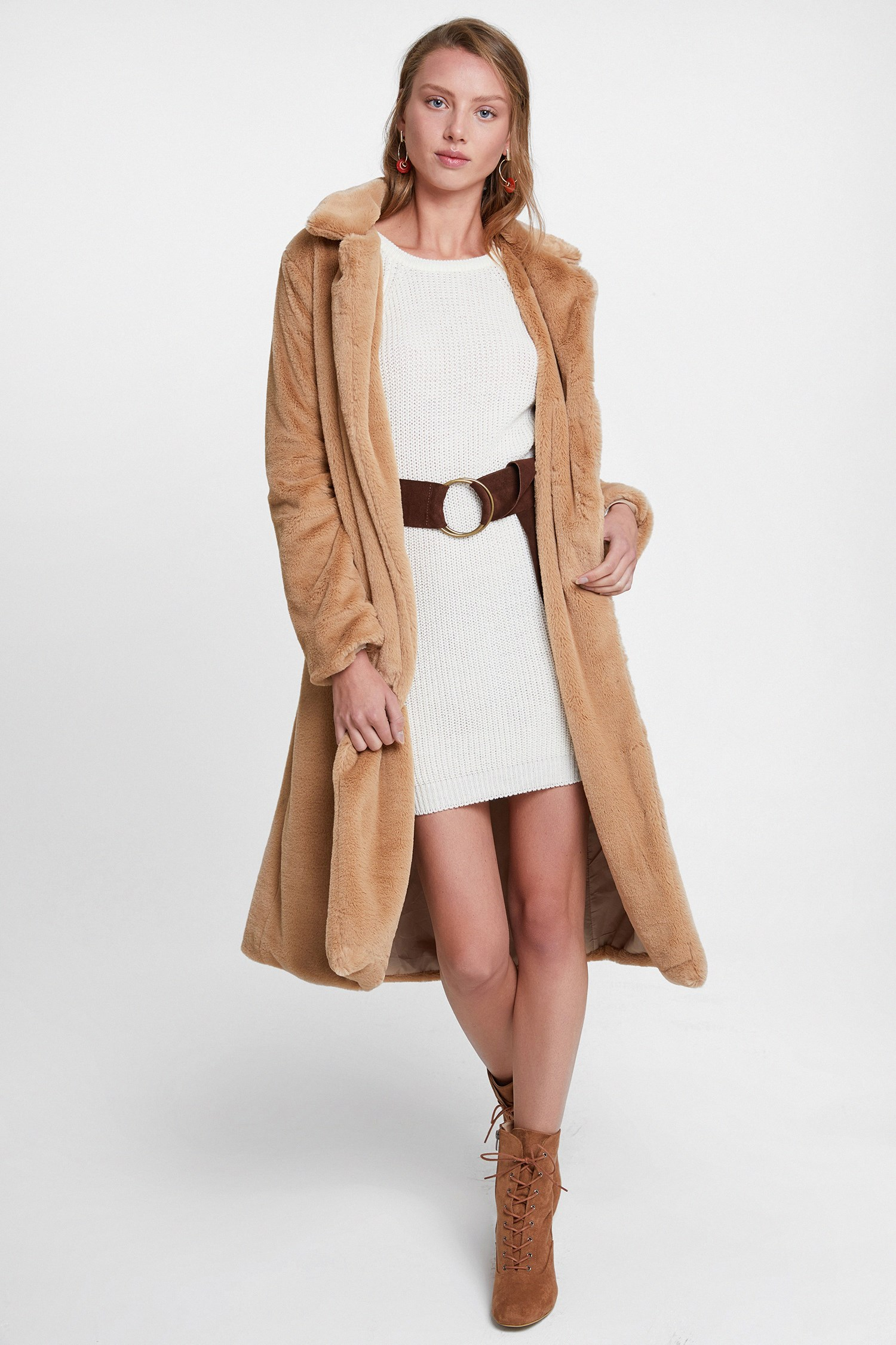 Bayan Krem Uzun Kol Detaylı Triko Elbise
