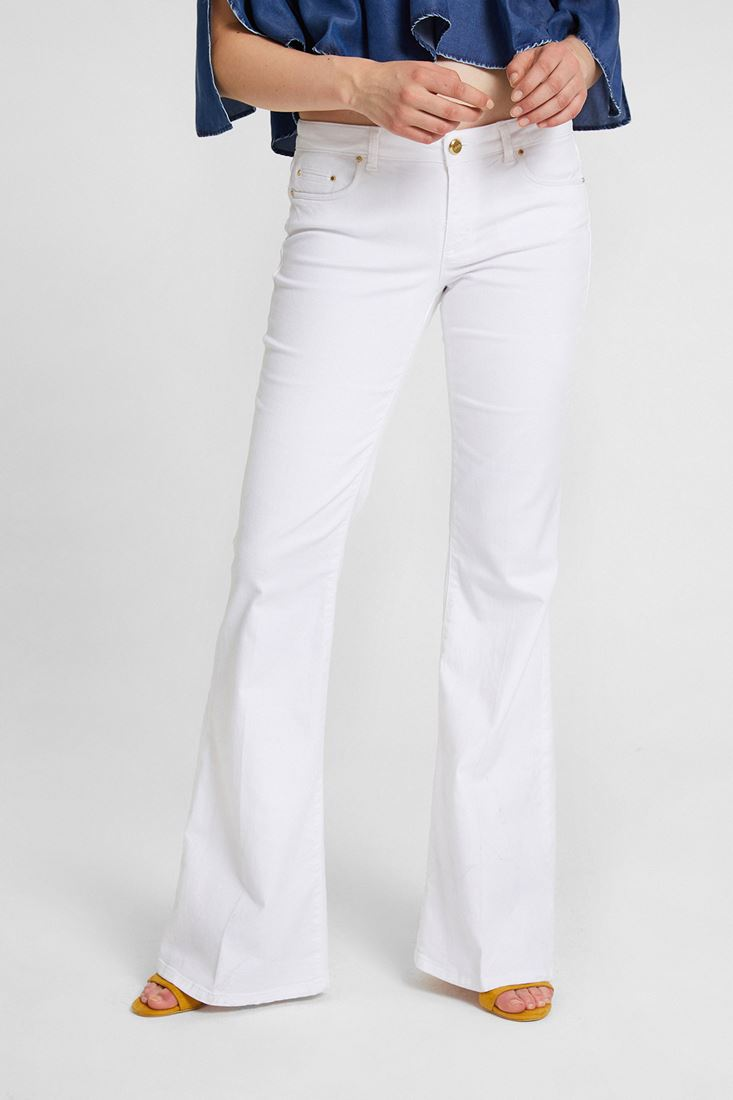 White Flare Cut Pants