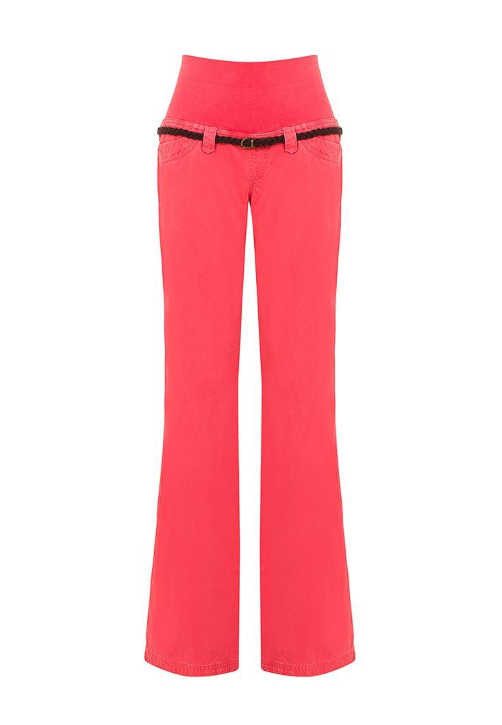 Kırmızı Bol Kesim Pantolon