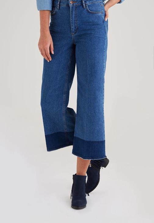 Lacivert Vintage Bol Paça Pantolon