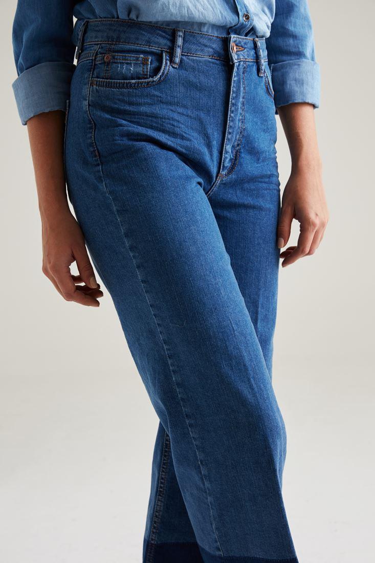 Bayan Lacivert Vintage Bol Paça Pantolon