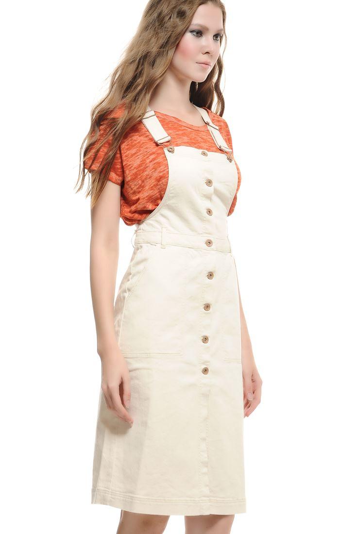 Bayan Krem Pinafore Elbise