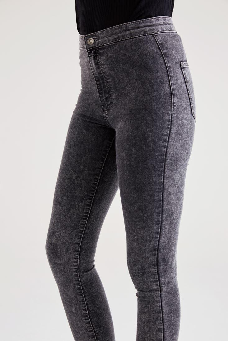 Bayan Gri Ultra Yüksek Bel Skinny Pantolon