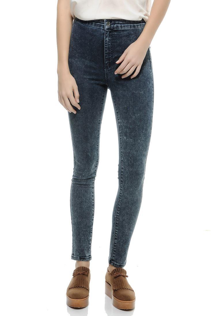 Bayan Lacivert Ultra Yüksek Bel Skinny Pantolon