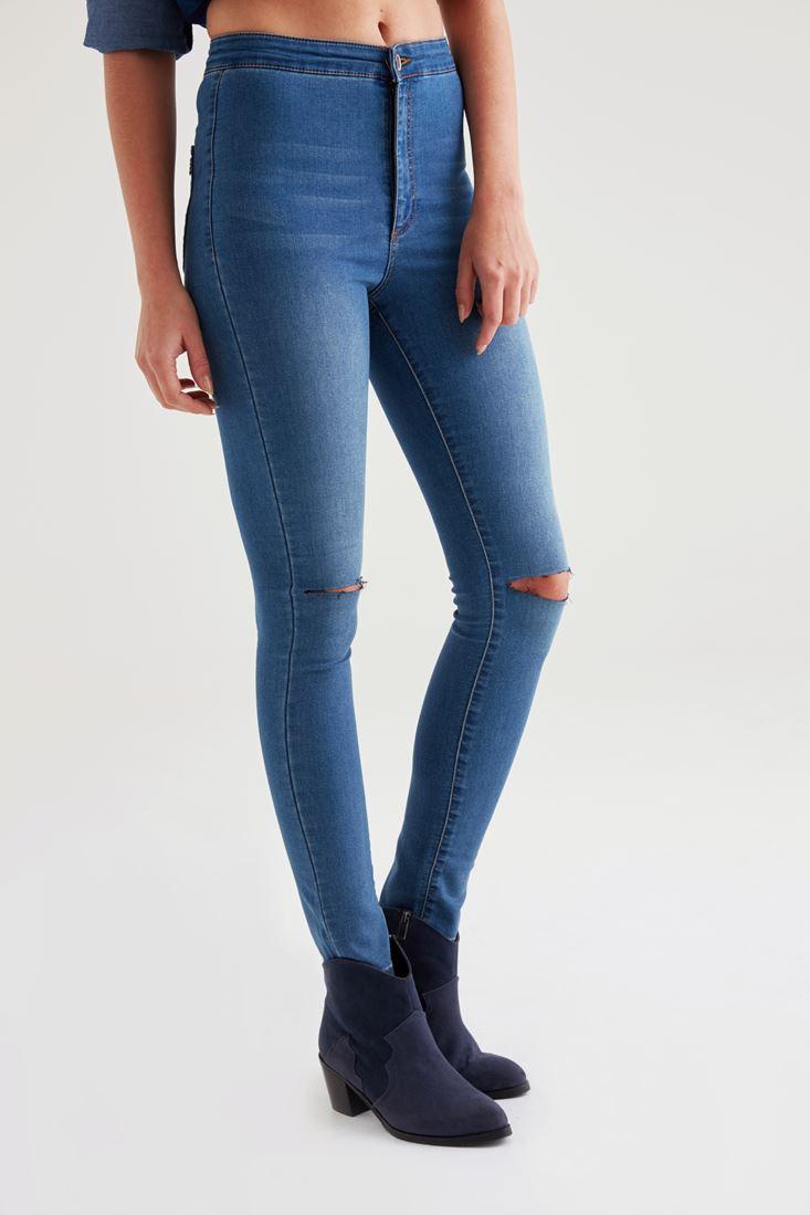 Bayan Mavi Ultra Yüksek Bel Skinny Pantolon