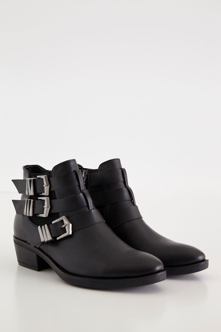 Black Fastening Detailed Leather Bootie